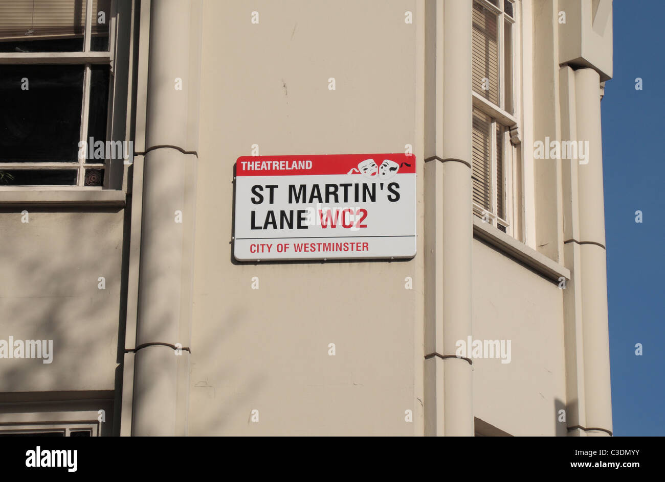Theatreland street sign for St Martin's Lane, London, WC2, UK - Stock Image