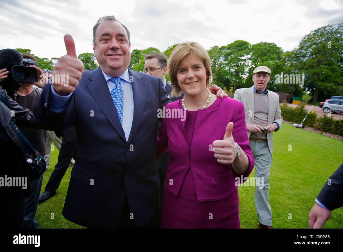 Alex Salmond, leader of the Scottish National Party (SNP )with Nicola Sturgeon - Stock Image