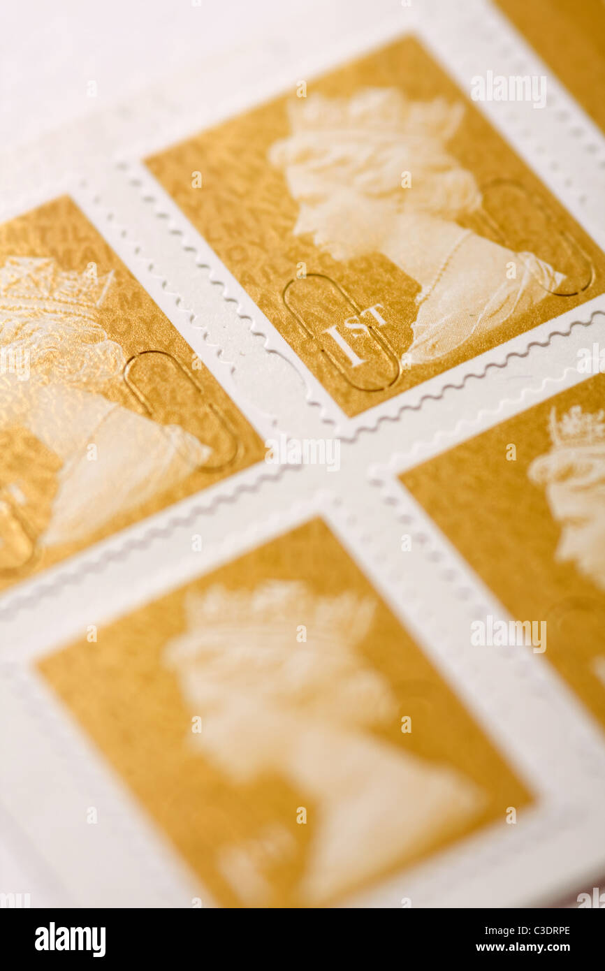 British 1st class postage stamps - Stock Image