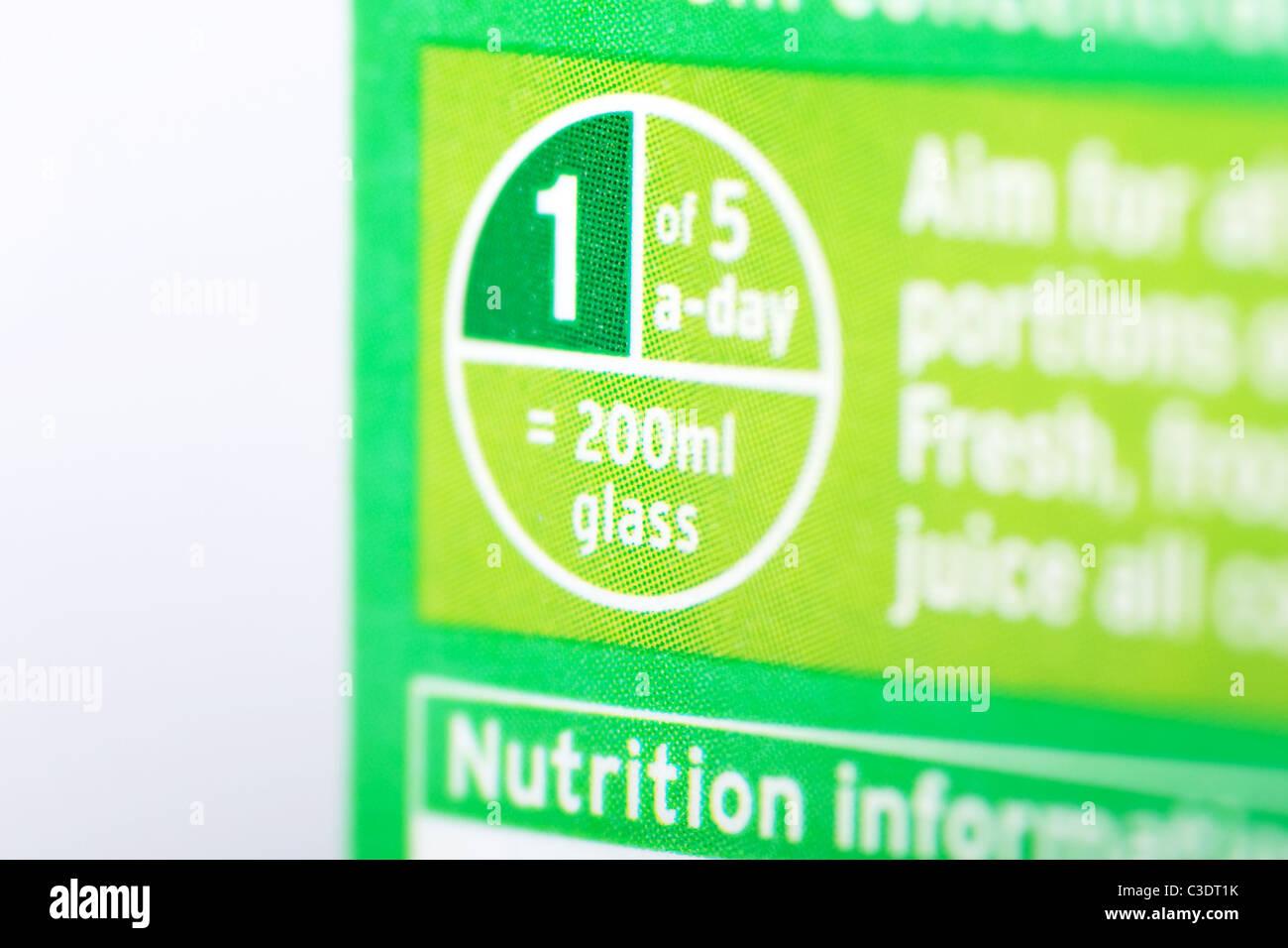 5 day branding labelling on a carton of Sainsburys apple juice - Stock Image