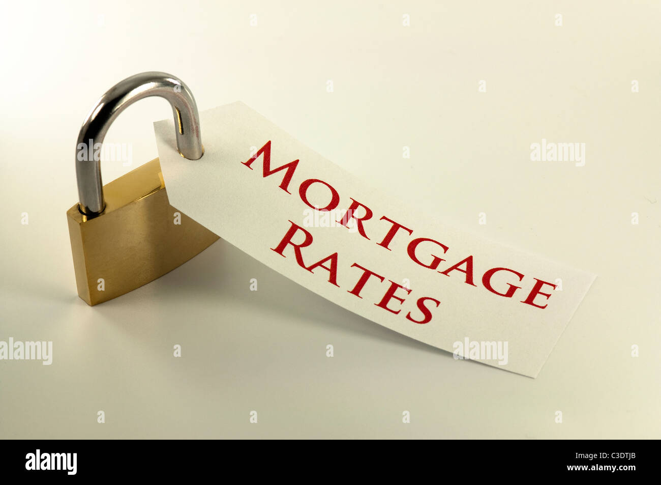 Mortgage rates locked down / fixed concept - Stock Image