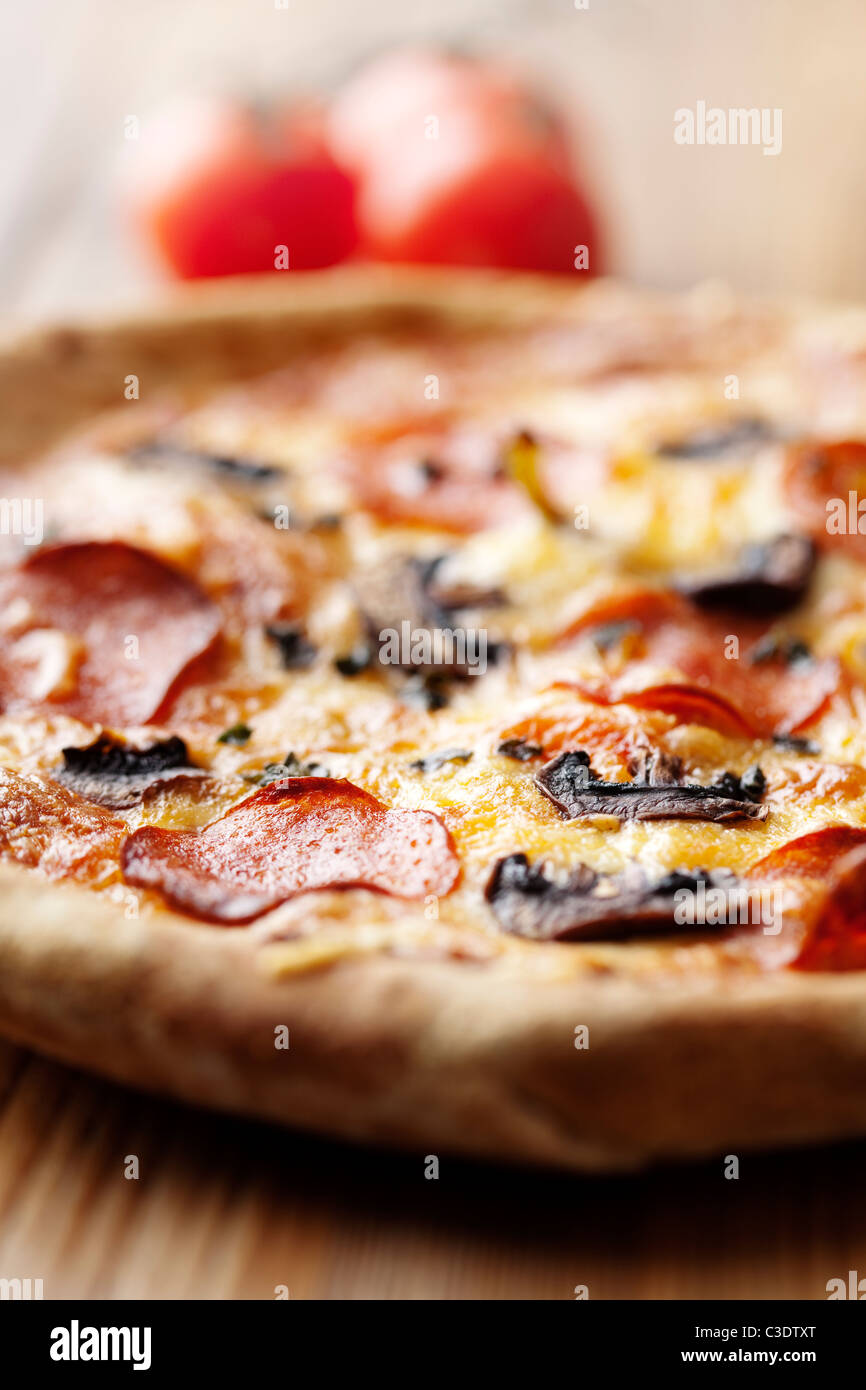 pepperoni and mushroom pizza - Stock Image