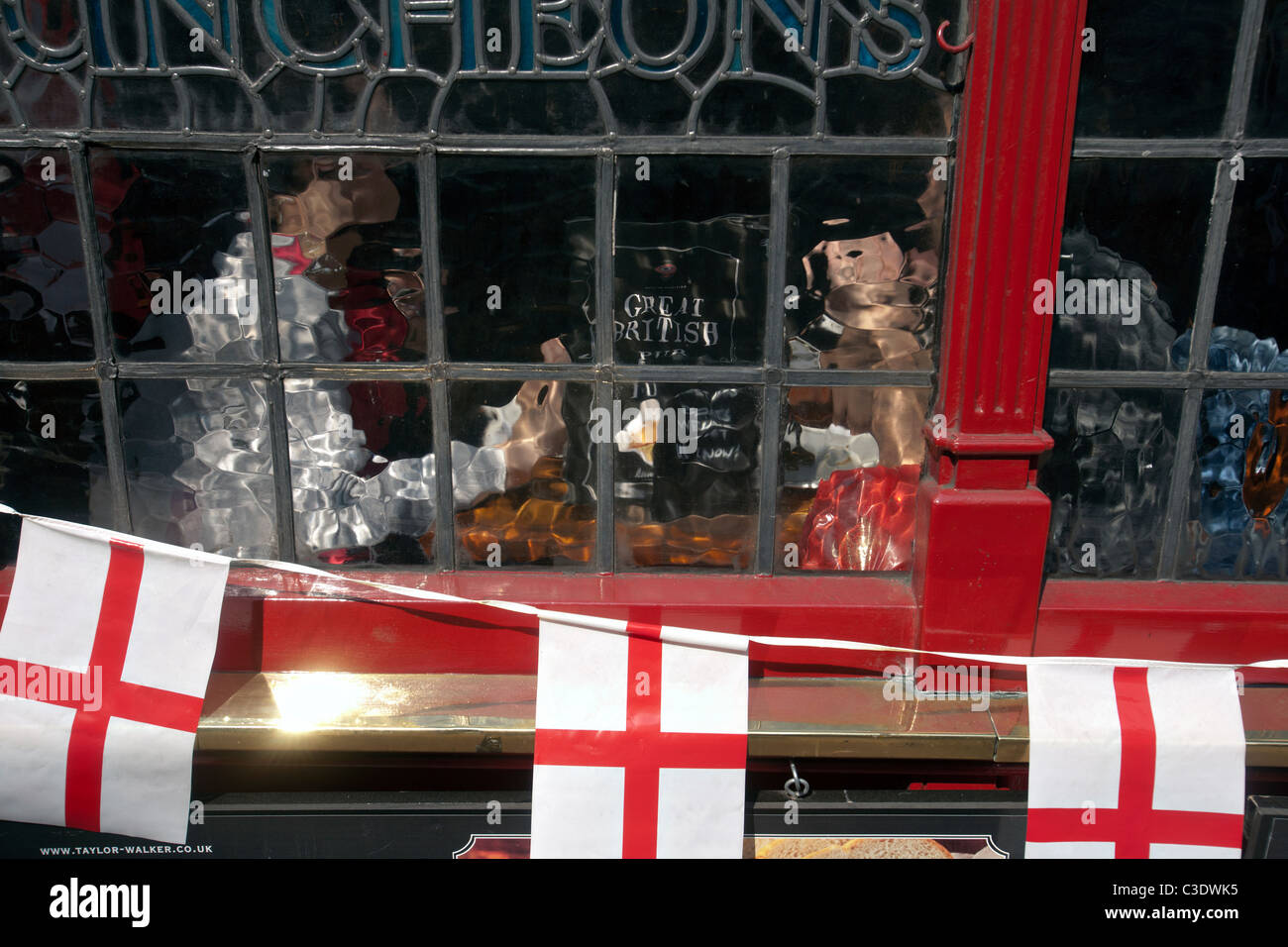 london pub window - Stock Image