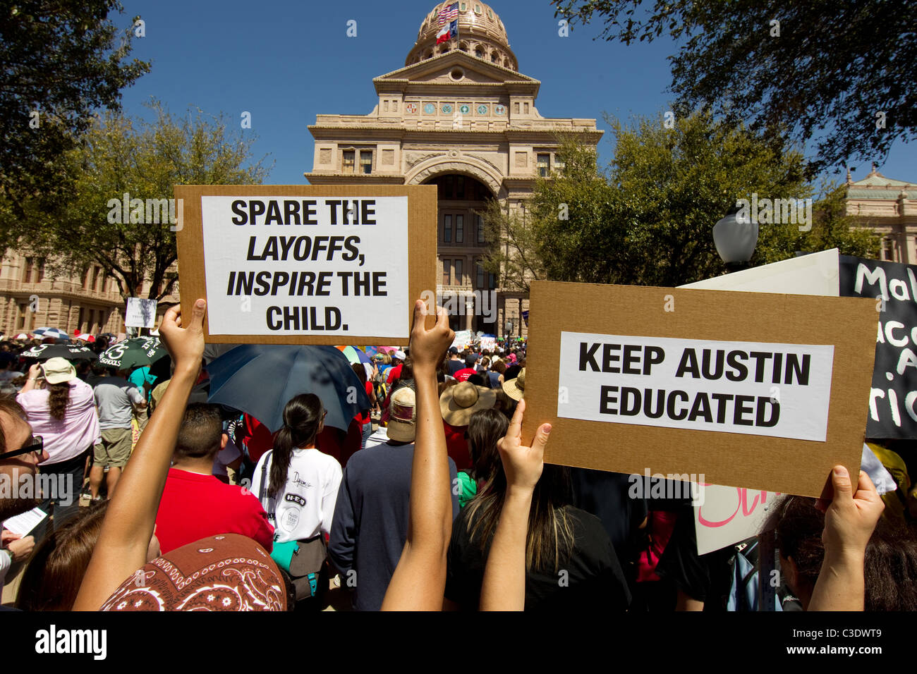 A protest rally at the Texas Capitol dubbed Save Texas Schools as teachers and parents decry 2011 legislative budget - Stock Image