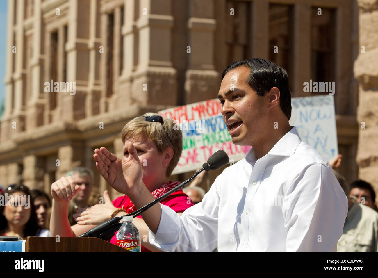 San Antonio Texas Mayor Julian Castro speaks at rally against education budget cuts - Stock Image