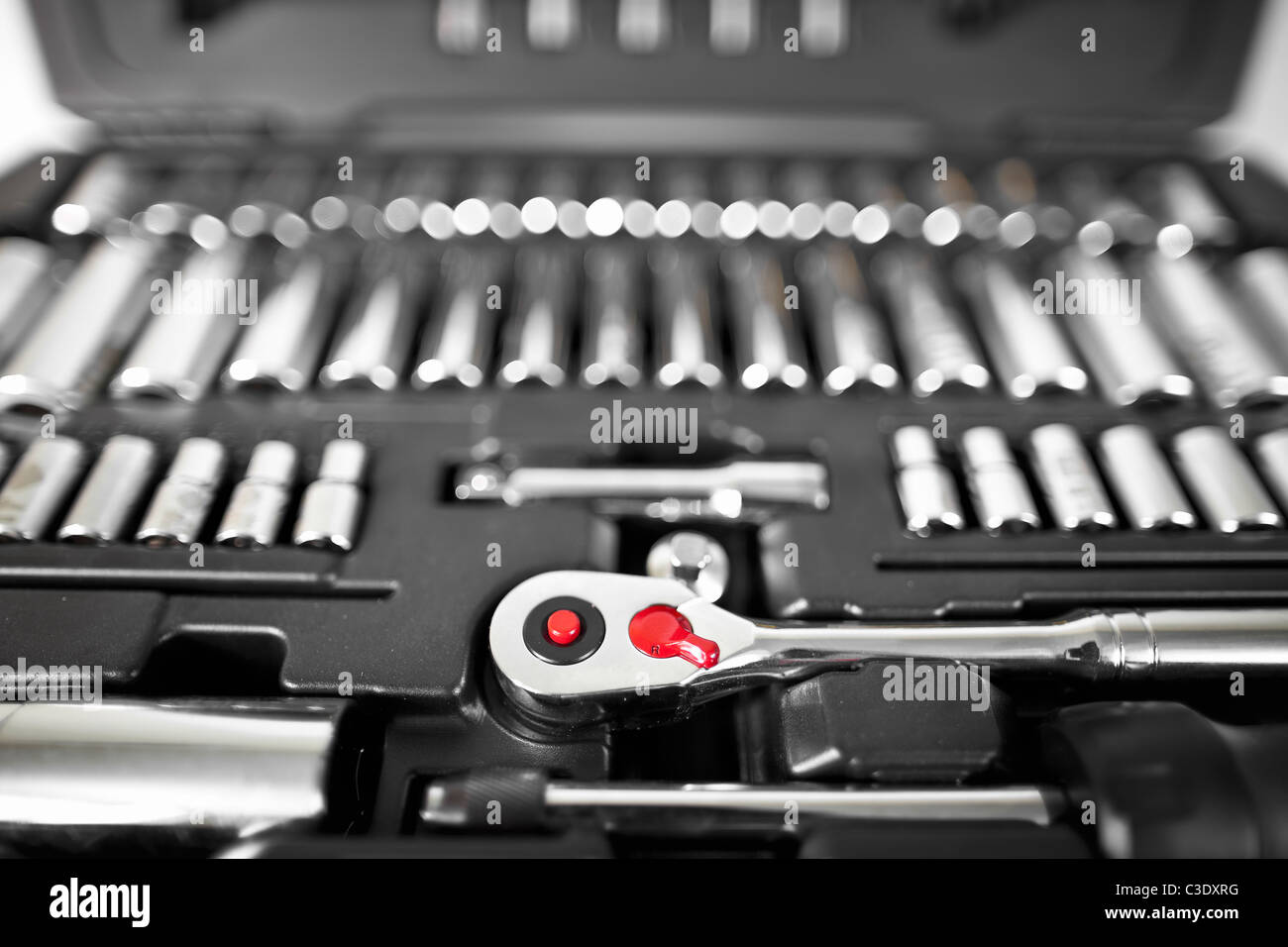 Socket wrench set in case, close up. - Stock Image