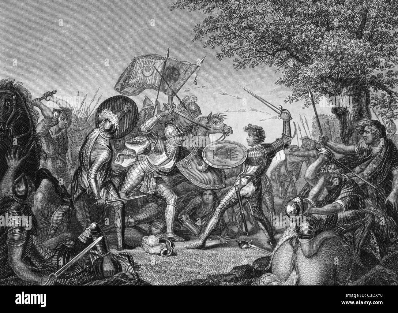 Battle of Humbleton Hill on engraving from the 1800s. Conflict between the English and Scottish in 1402. - Stock Image
