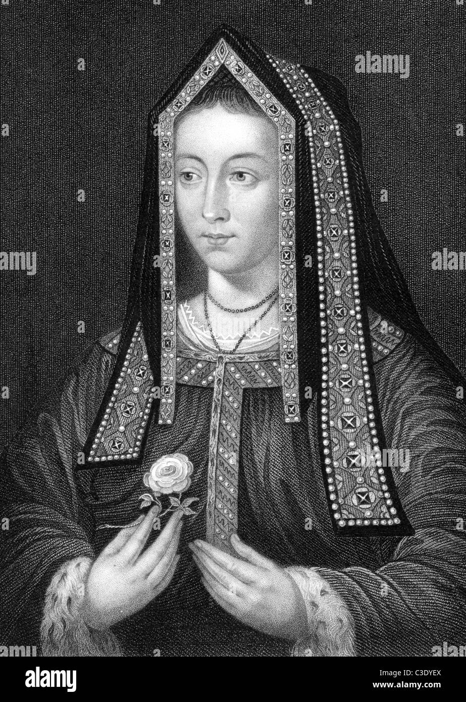 Elizabeth of York (1466-1503) on engraving from 1838. Queen consort of England as spouse of King Henry VII. Stock Photo
