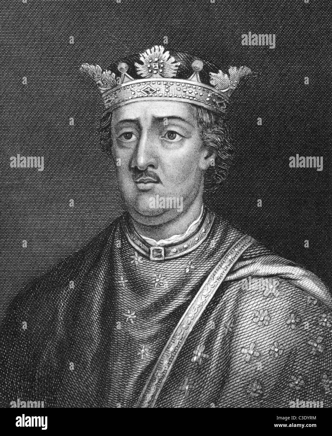 Henry II of England (1133-1189) on engraving from 1830. King of England during 1154-1189. Published in London by - Stock Image