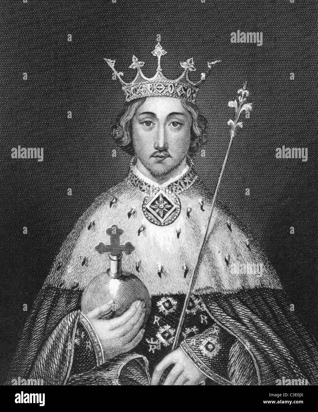 Richard II of England (1367-1400) on engraving from 1830. King of England during 1377-1399. Published in London - Stock Image