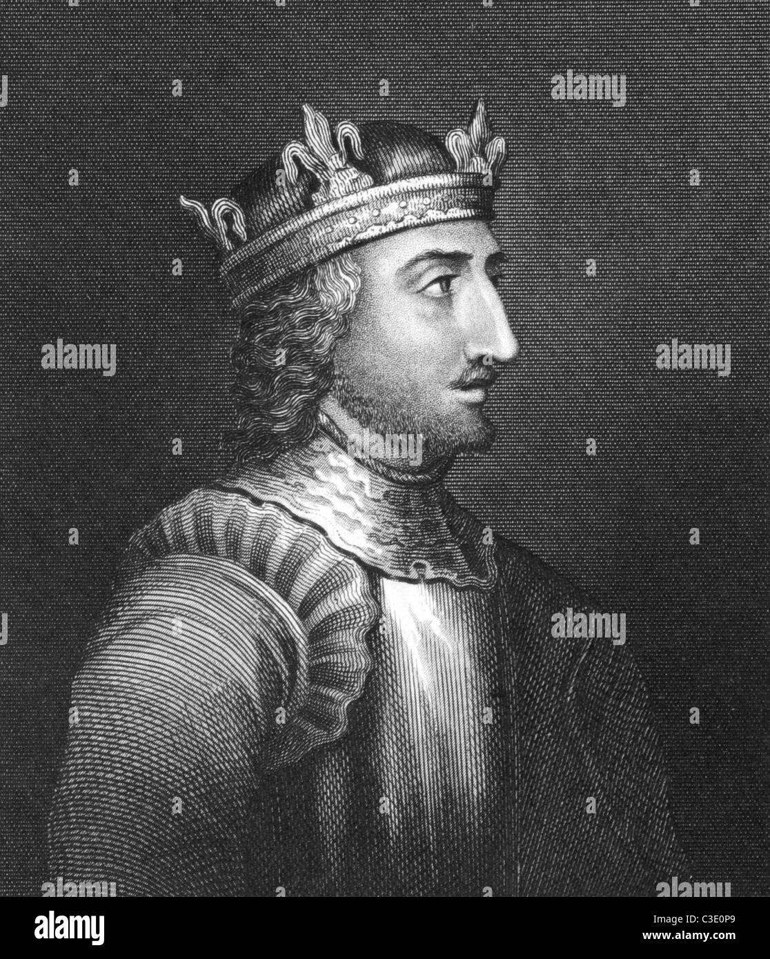 King Stephen (1096-1154) on engraving from 1830. Grandson of William the Conqueror and last Norman King of England. - Stock Image