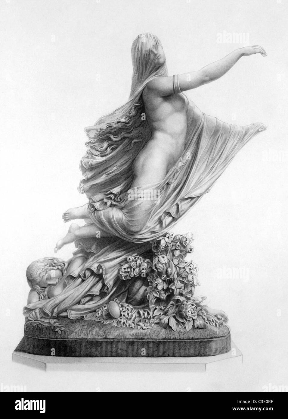 The sleep of sorrow and the dream of joy on engraving from 1880. Engraved by E.W.Stodart from the sculpture by R.Monti. - Stock Image