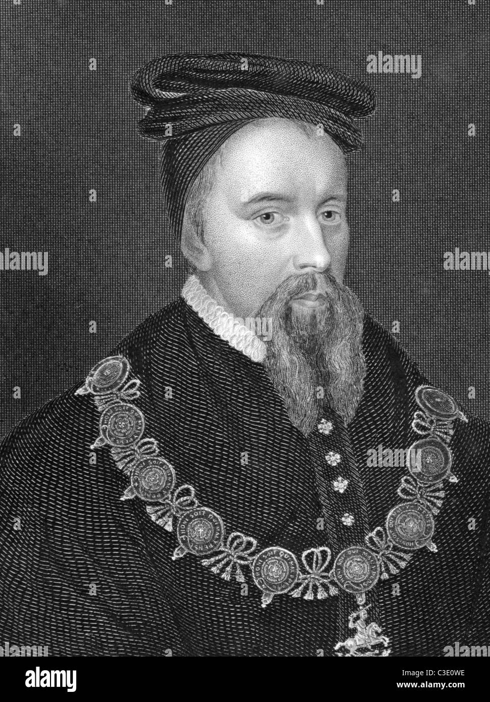 Thomas Stanley, 1st Earl of Derby (1435-1504) on engraving from 1838. Titular King of Mann, English nobleman. - Stock Image