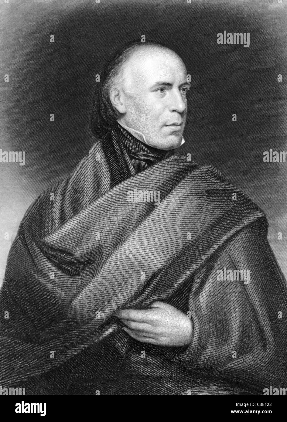 Allan Cunningham (1784-1842) on engraving from 1835. Scottish poet and author. Engraved by J.Thomson after a picture Stock Photo
