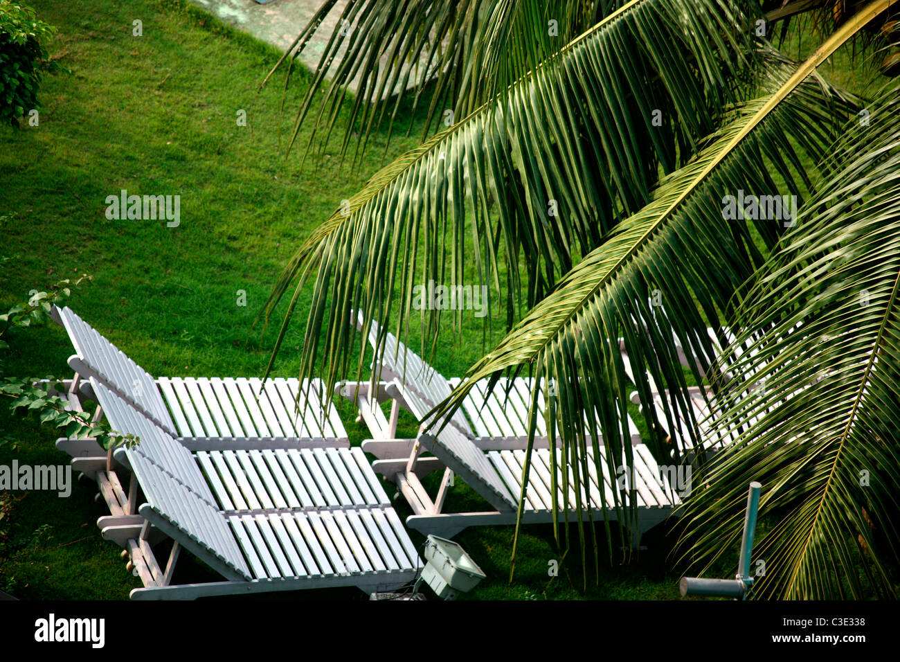 Garden chairs on lawn - Stock Image