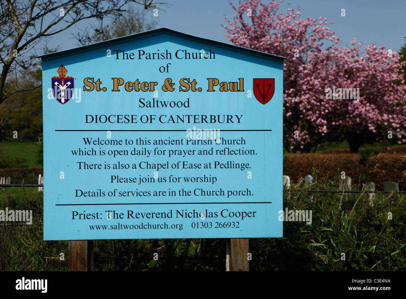 Noticeboard at Church of St Peter and St Paul Saltwood Hythe Kent - Stock Image