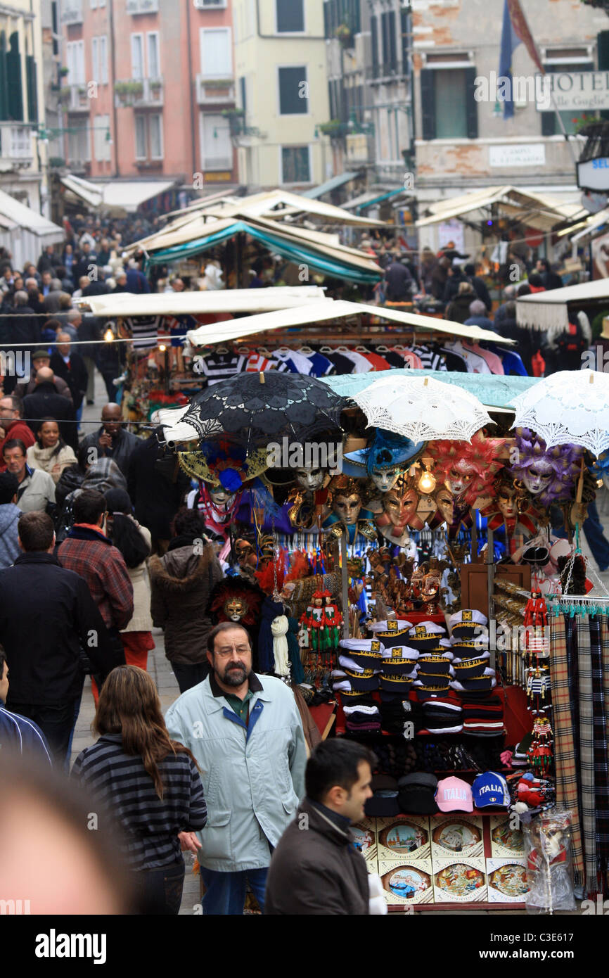 Thriving market stalls in Venice, Italy - Stock Image