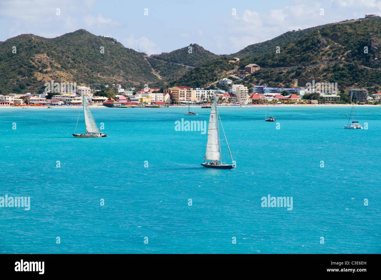 12 Meter Sailboats at Great Bay - Stock Image