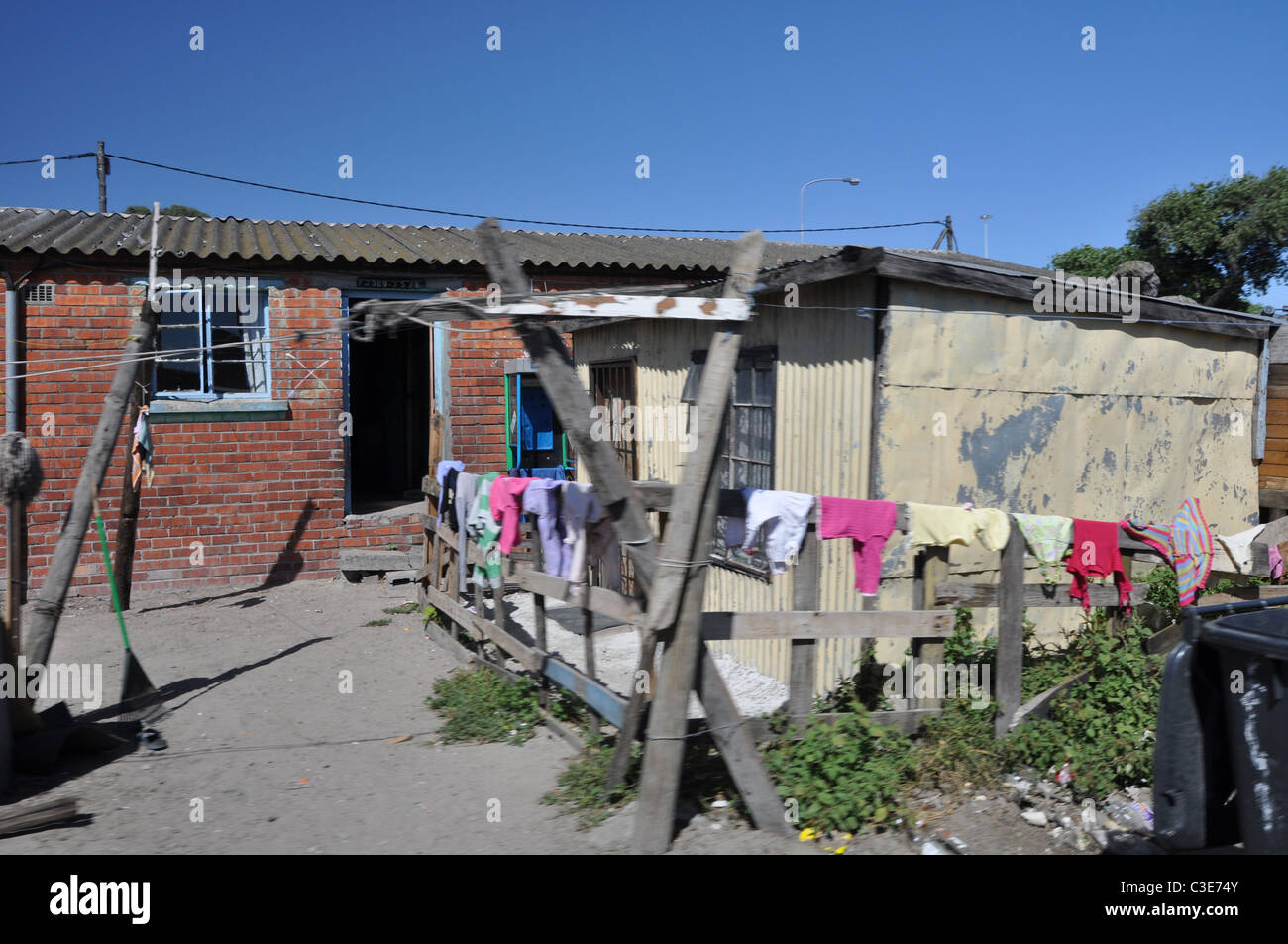 Township houses and sheds in gugulethu south africa stock image