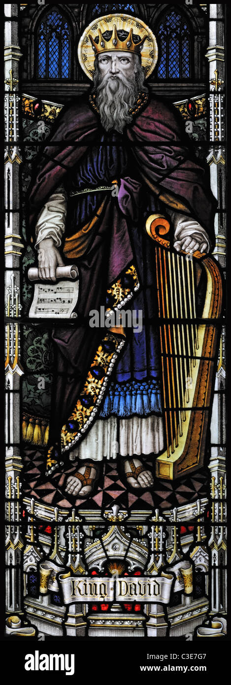 Victorian stained glass window depicting King David, Brinton, Norfolk, England - Stock Image