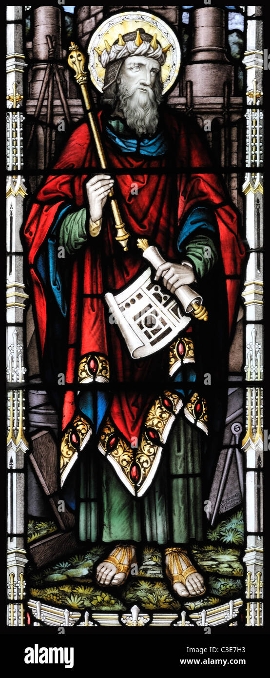 Victorian stained glass window depicting King Solomon, Brinton, Norfolk, England Stock Photo