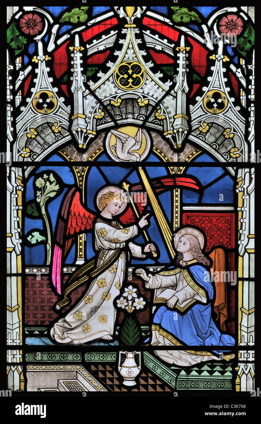 annunciation virgin mary stained glass stock photos