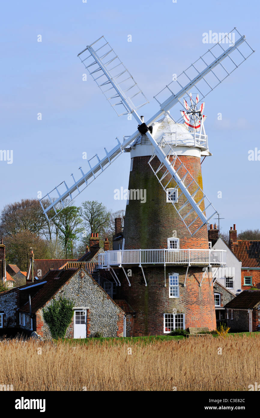 Norfolk's iconic windmill, Cley next the Sea, England - Stock Image