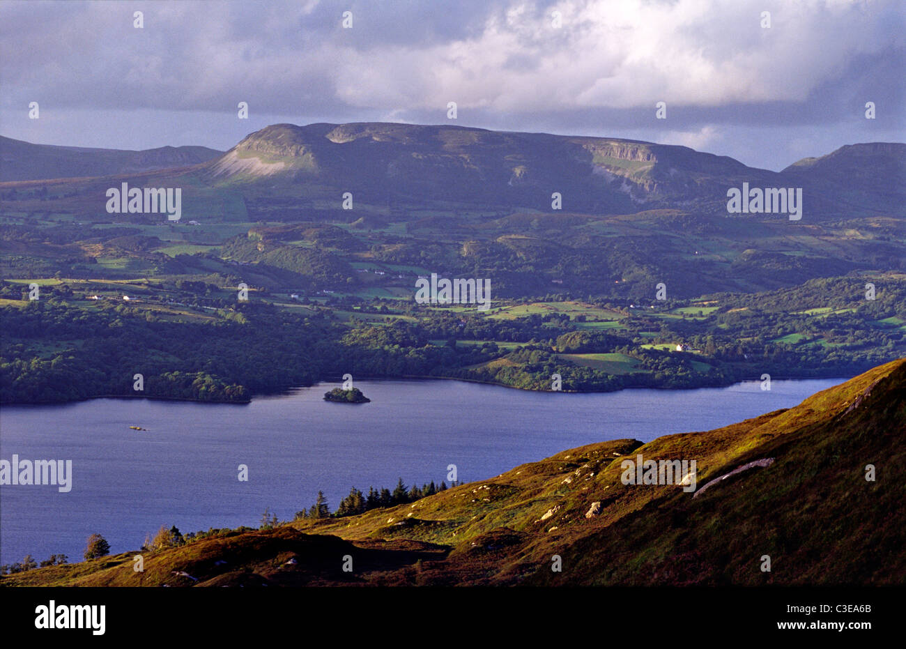 View over Lough Gill from Killery Mountain, County Sligo, Ireland. - Stock Image