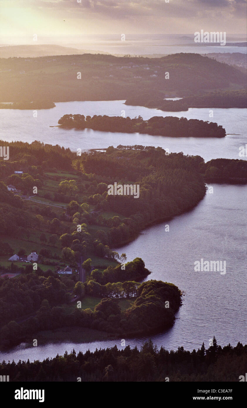 View over Lough Gill and Slishwood from Killery Mountain, County Sligo, Ireland. - Stock Image