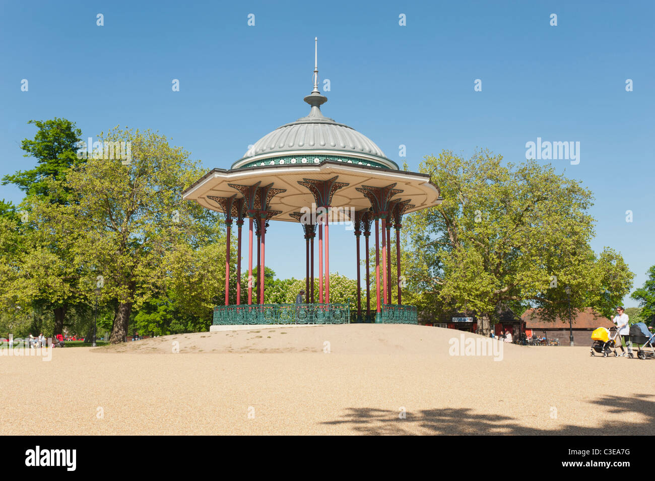 The Bandstand in the middle of Clapham Common, Lambeth, London, England, UK. - Stock Image