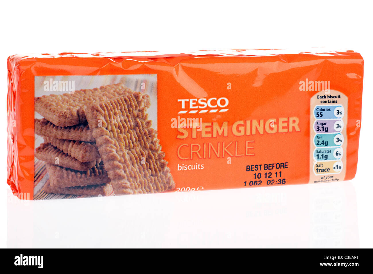 Packet of Tesco Stem ginger crinkle biscuits - Stock Image