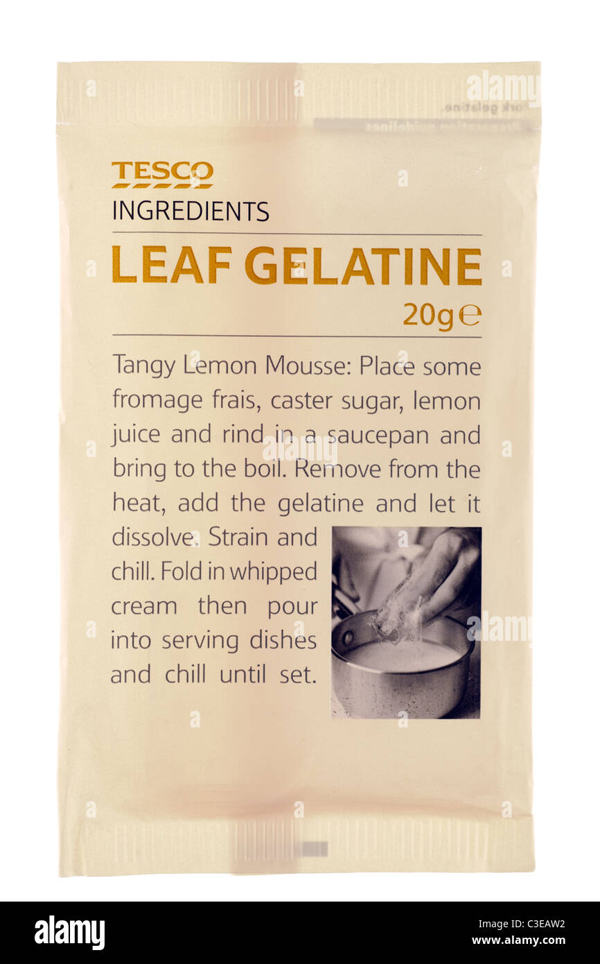 20 gram packet of Tesco leaf gelatine with recipe - Stock Image