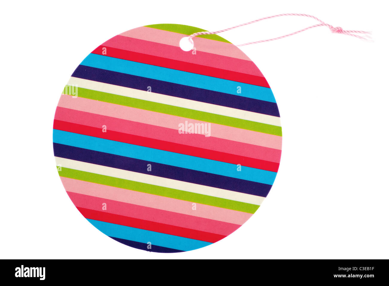 single  multicoloured gift tag - Stock Image