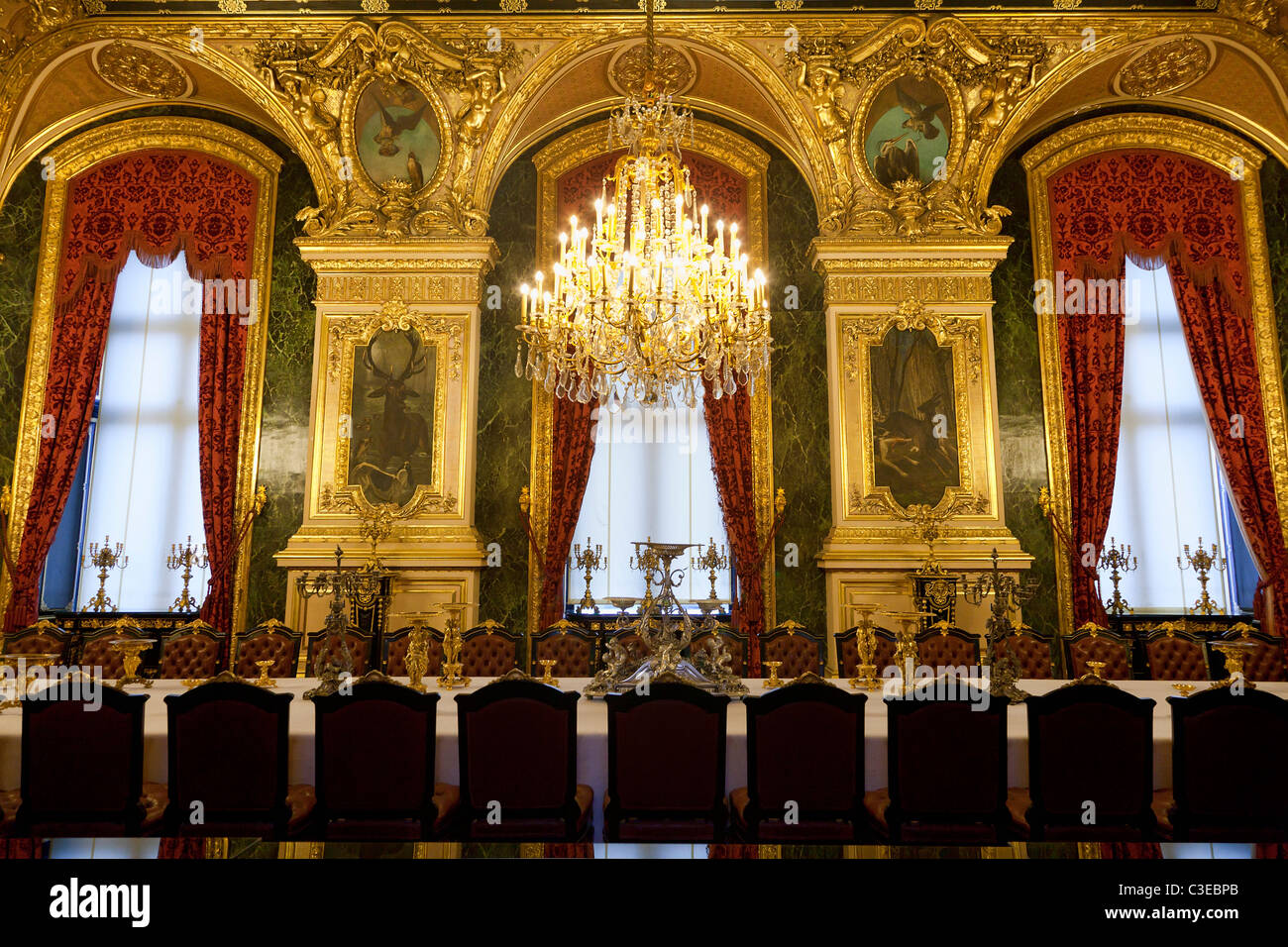France, Paris, the Louvre Museum, apartments of Napoleon III located in the Richelieu Wing - Stock Image