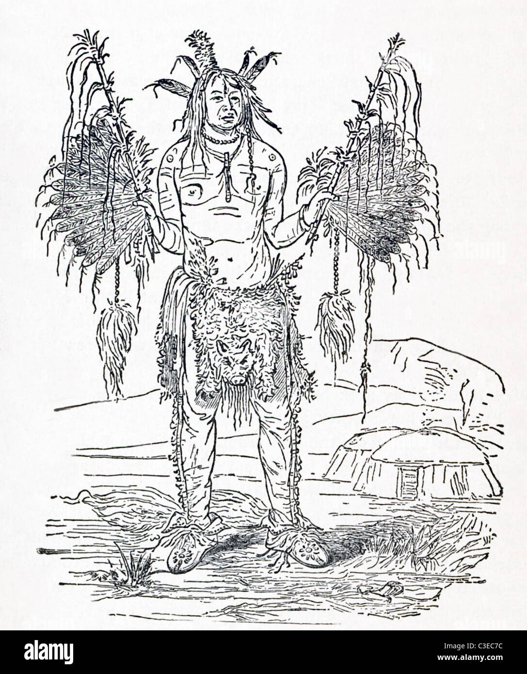 This illustration titled 'New England Witch Doctor' dates to around 1906. - Stock Image