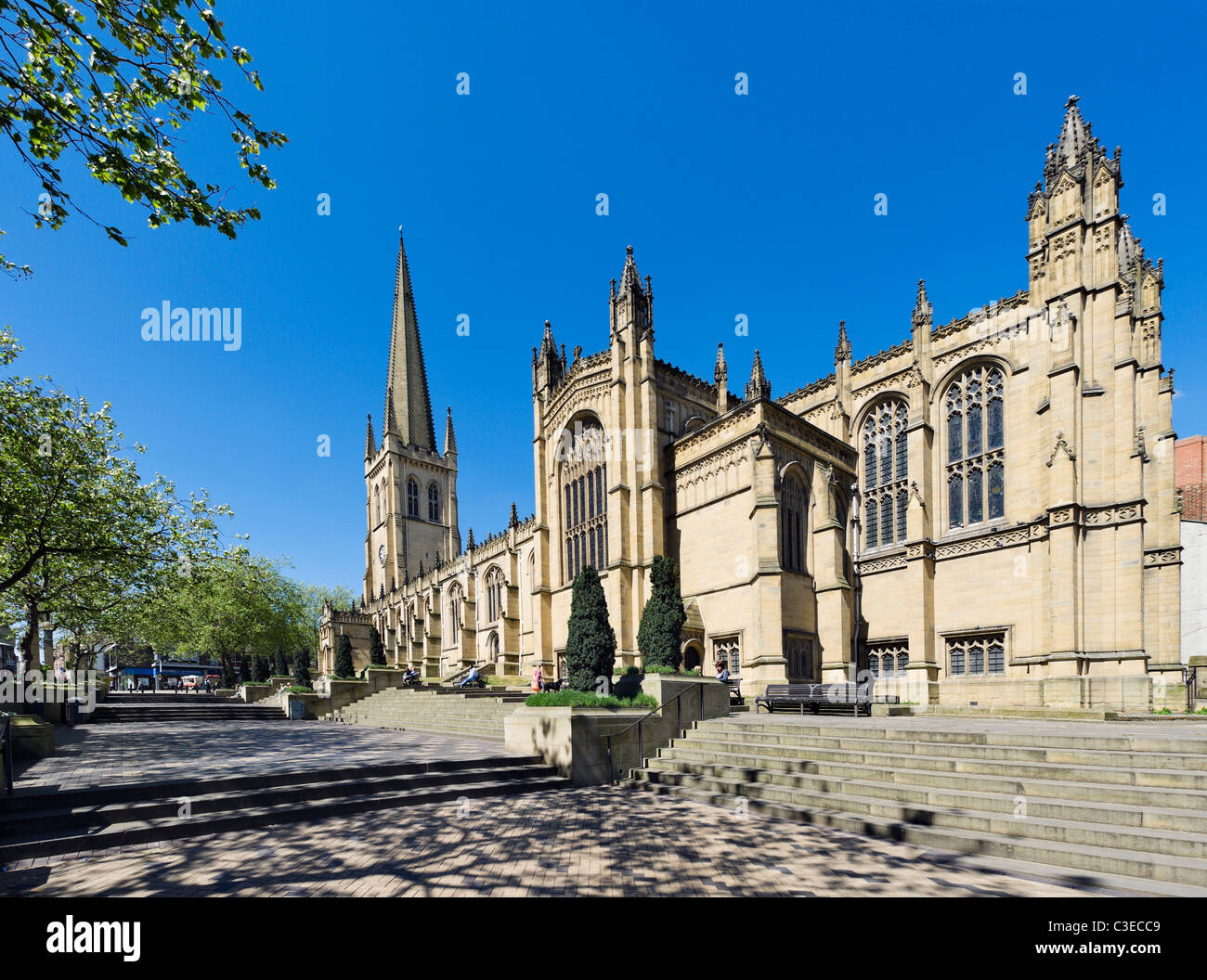 Wakefield Cathedral from Kirkgate, Wakefield, West Yorkshire, UK - Stock Image