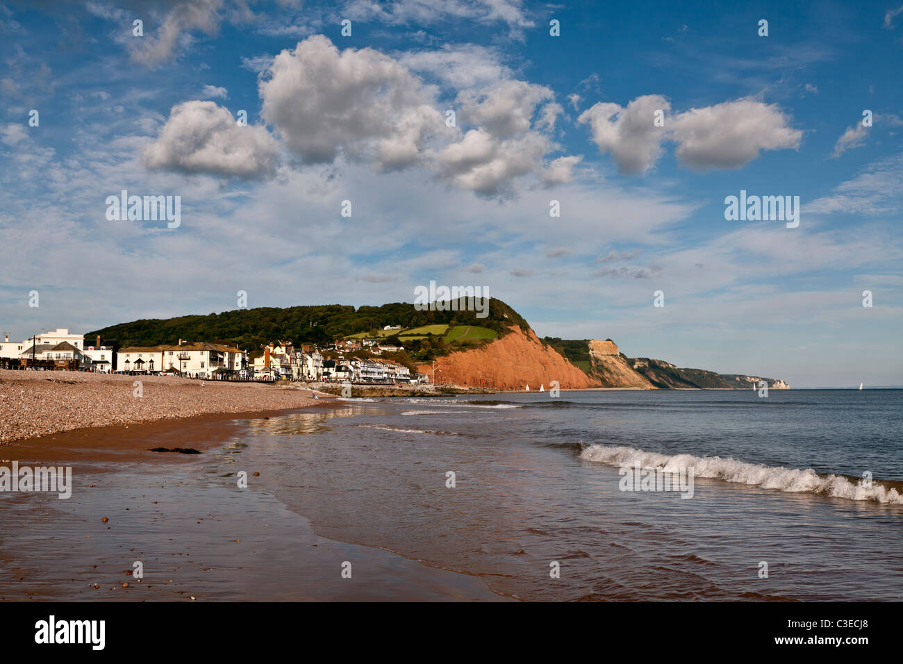 View of Sidmouth and its sandstone cliffs - Stock Image