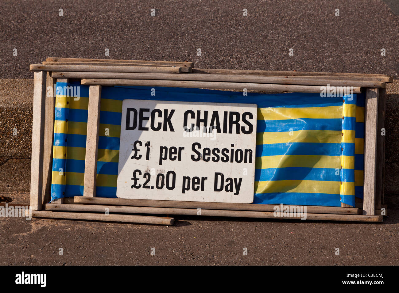 Deck chairs for hire at the holiday resort of Sidmouth, Devon - Stock Image