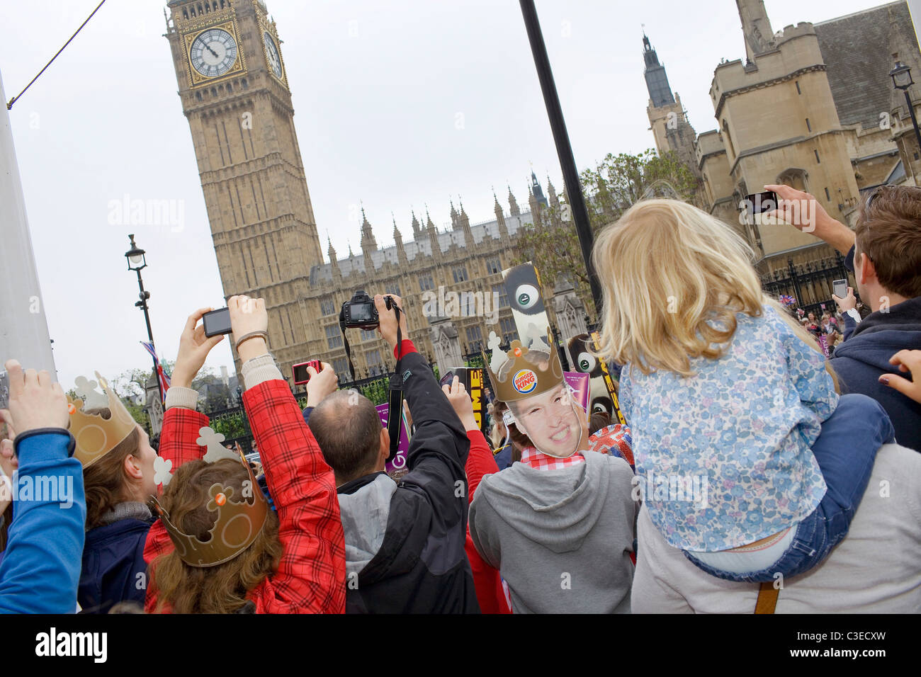 Royal supporters opposite Big Ben. Stock Photo