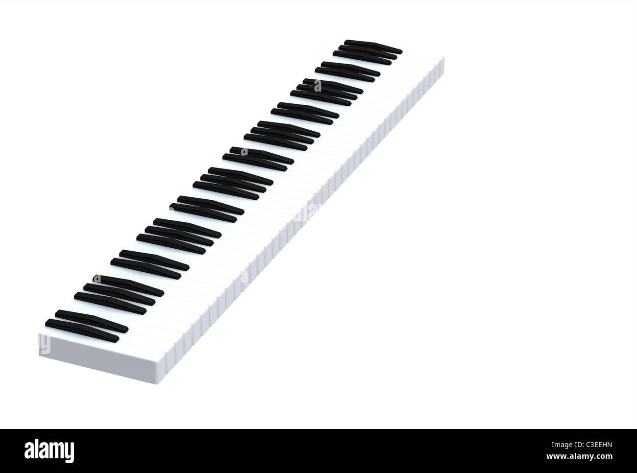 Black and white keys on music keyboard - Stock Image