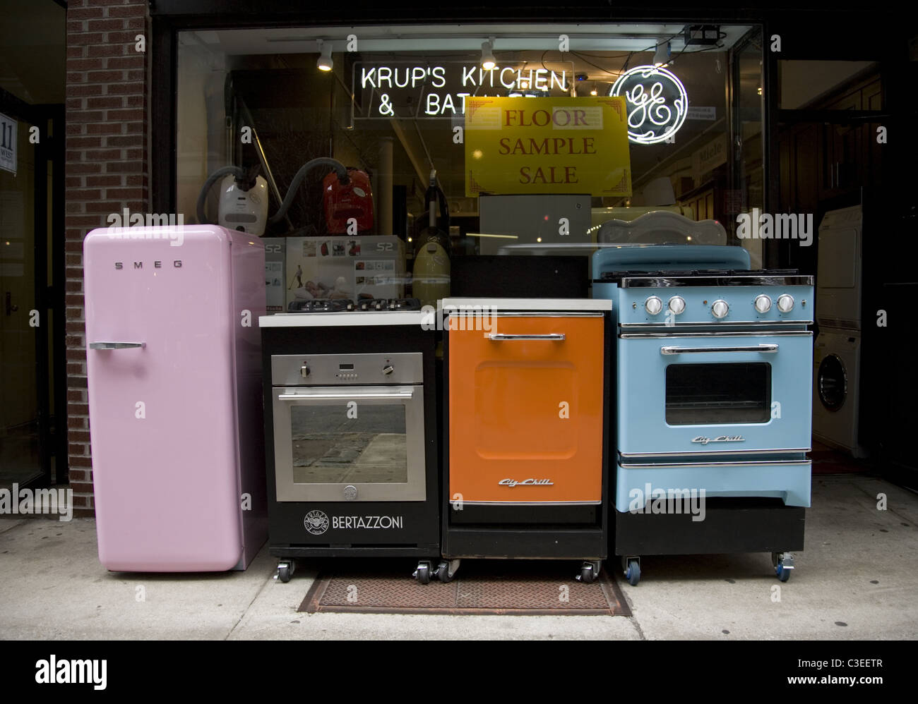 New Retro Style Kitchen Appliances On Display In New York City.