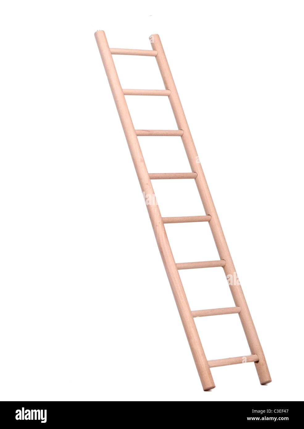 Sideview of a wooden ladder isolated on white background - Stock Image