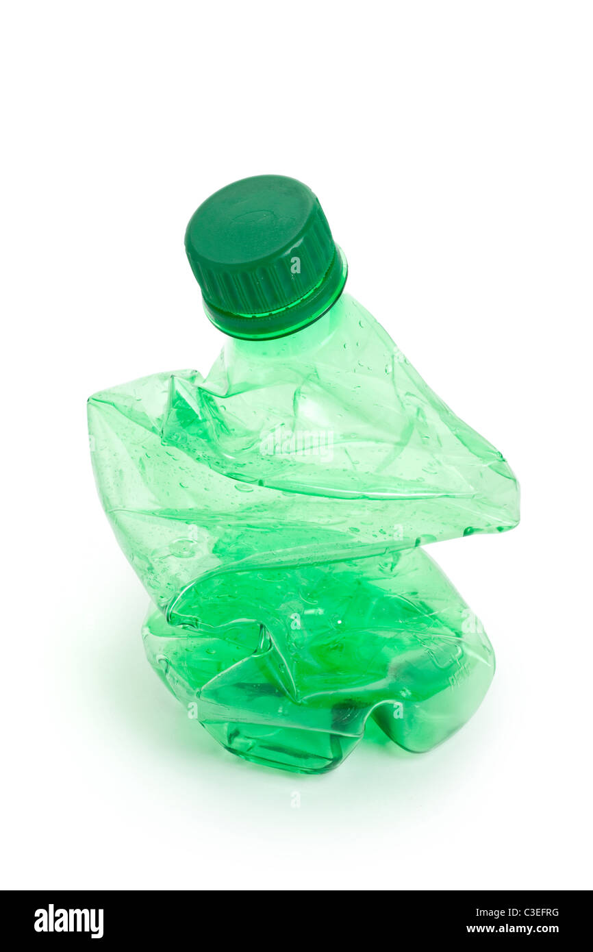 Crushed green Water Bottle close up - Stock Image
