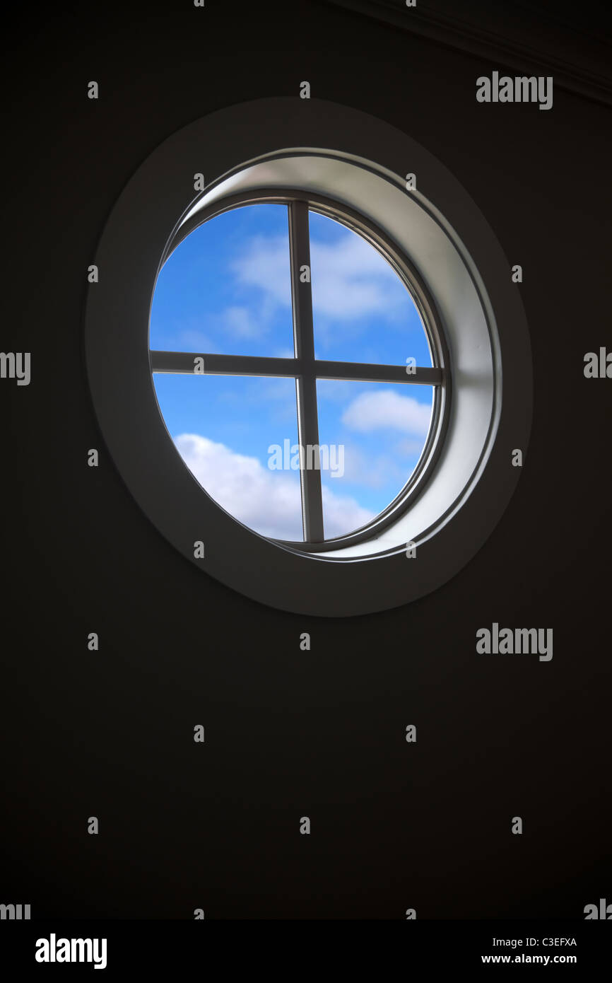 Window and blue sky for background - Stock Image