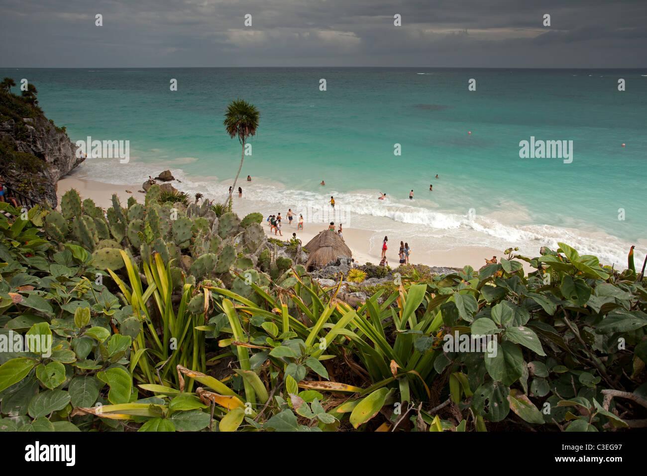 Tulum Maya Ruins: Beach - Stock Image
