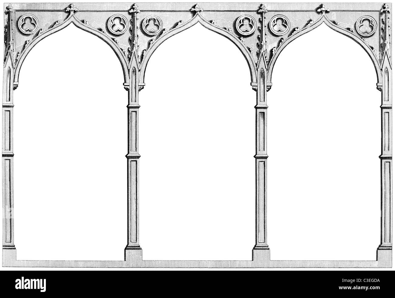 Vintage engraving of three gothic arches Stock Photo