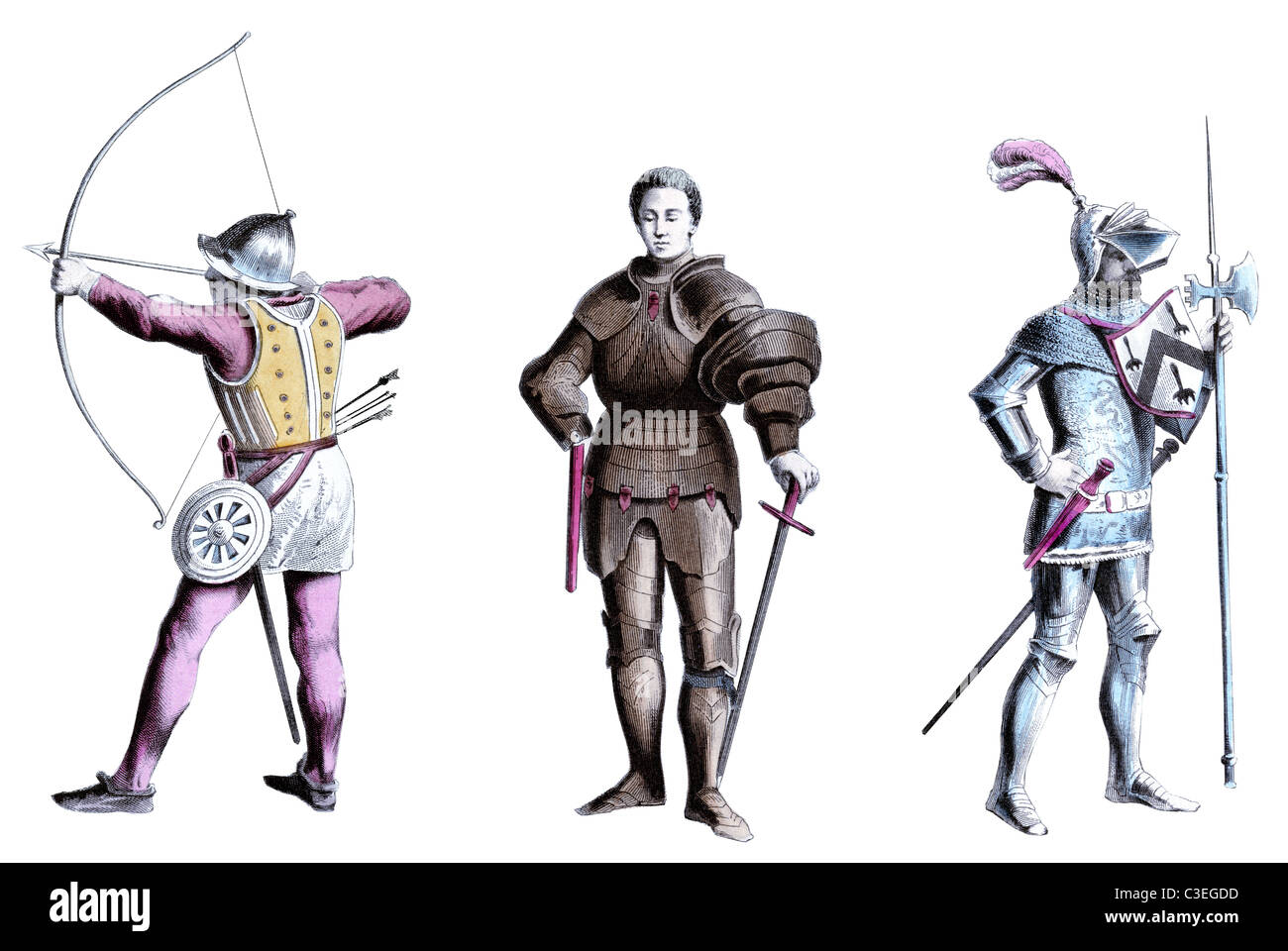 Fifteenth Century English soldiers - Stock Image