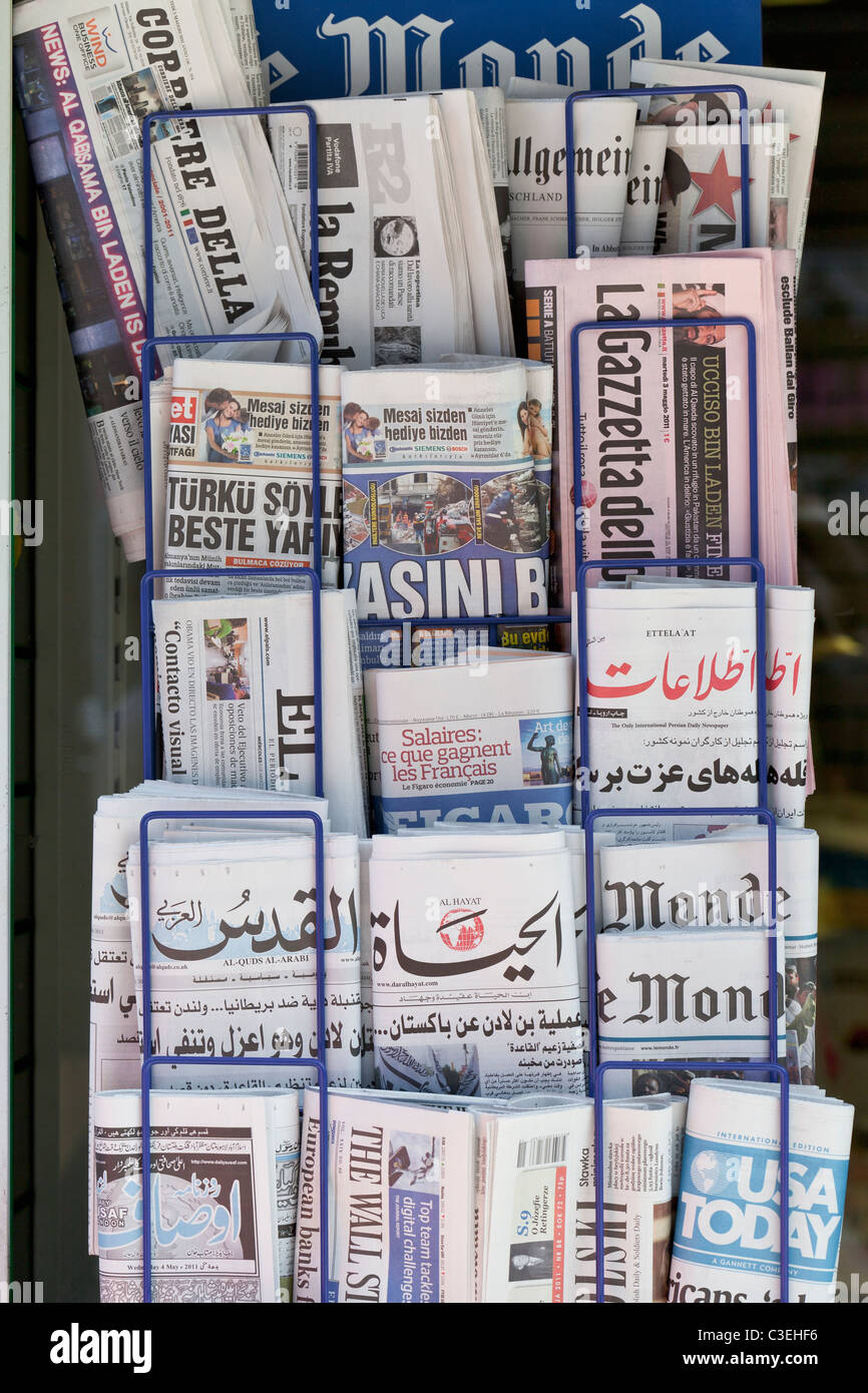 International newspaper stand, England - Stock Image