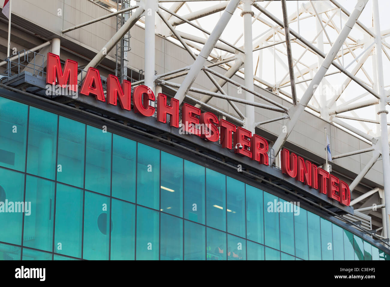 Outside Old Trafford football stadium, Manchester, England - Stock Image