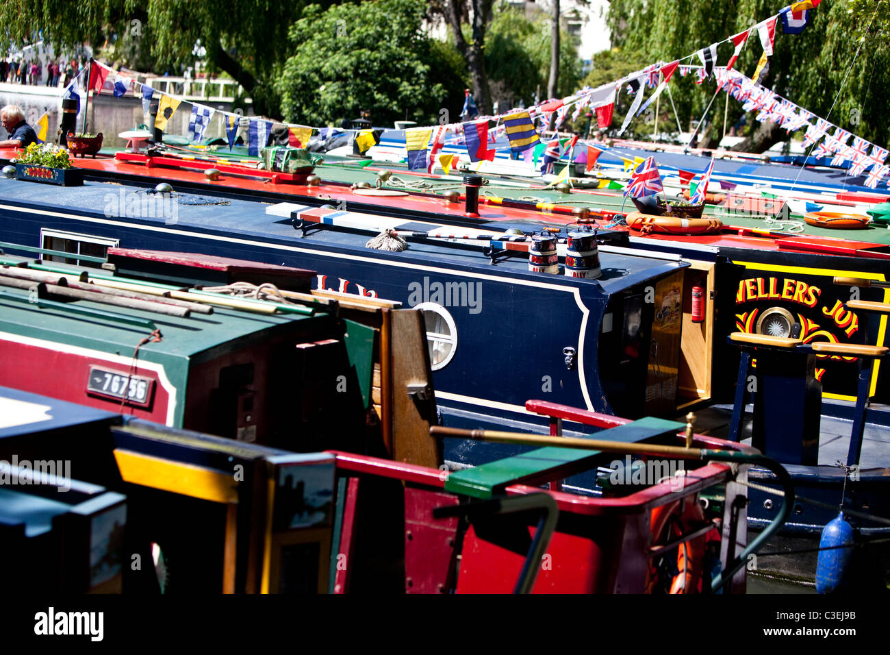 Narrowboats docked on Regent's Canal at Little Venice, London, England, UK - Stock Image